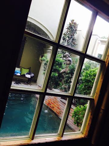 Pool view through window