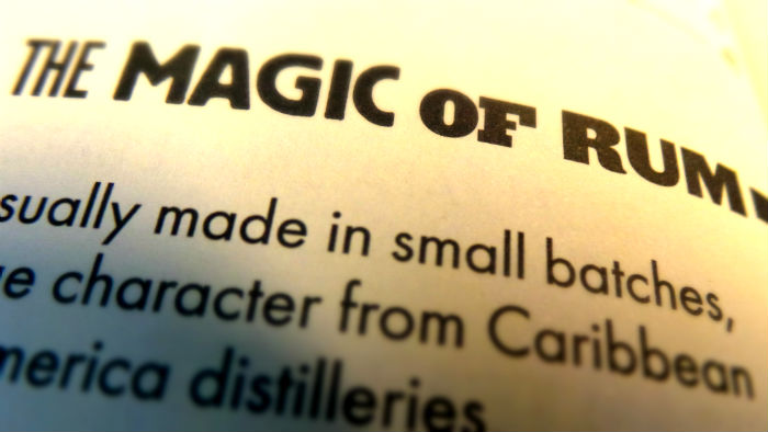 menu magic of rum